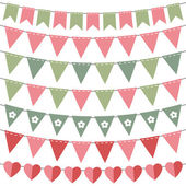 Pink and green bunting set — Stock Vector