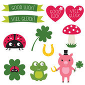Good luck elements set. Text in English and German — Stock Vector