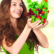 Woman with bowl of salad — Stock Photo