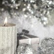 Christmas candle with decoration — Foto Stock
