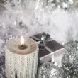 Christmas candle with decoration — ストック写真