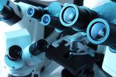 Many microscopes — Stock Photo
