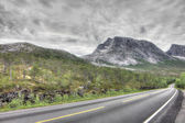 Norwegian landscape with road — Stock Photo