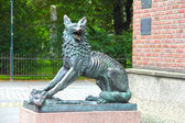 Wolf sculpture in Trondheim — Stock Photo
