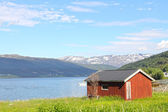 Village in fjord coast — Stock Photo