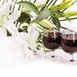 Stock Photo: Wine and flowers