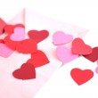 Envelope with red hearts — Stock Photo #36857649