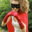 Superhero girl — Stock Photo