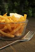 Franse frietjes met mayonaise — Stockfoto