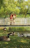 Teen on a bridge — Stock Photo