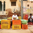 Vegetable salesman in India - Stock Photo
