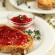 Toast with jam - Stock Photo