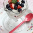 Fruits with yogurt — Stock Photo