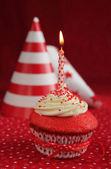 Birthday red velvet cupcake — Stock Photo