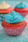 Pink and blue cupcake — Stock Photo