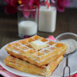Waffles with powered sugar — 图库照片
