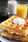 Waffles with butter — Stock Photo