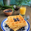 Royalty-Free Stock Photo: Waffles and blueberries