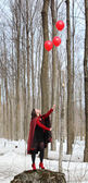 Donna con un palloncini — Foto Stock