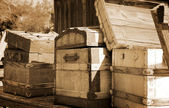 Three old chest in a carriage in sepia — Stock Photo