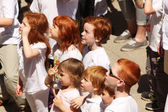 Gathering of redheads — Stock Photo