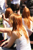 Gathering of redheads in Montreal — Stock Photo