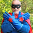 Senior super hero — Stock Photo