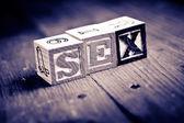 Sex wood blocks — Stock Photo