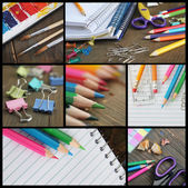 Collage of shools items — Stock Photo