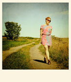 Woman in a path — Stock Photo