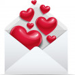 Open envelope with red love hearts — Imagen vectorial