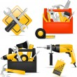 Stock Vector: Toolbox and DIY tools