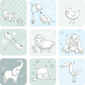 Baby card with animals — Stock Vector