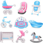 Baby accessories icons — Stock Vector