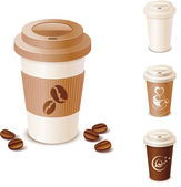 Set of takeaway coffee cups — Stock Vector