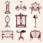 Set of furniture icons — Stok Vektör
