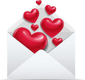 Open envelope with red love hearts — Stock Vector