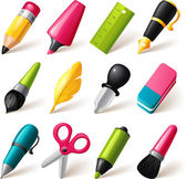 Drawing and Writing tools icon set — Stock Vector