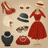 Lady retro fashion accessories — Stock Vector