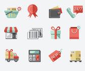 Shopping flat icon set — Stock Vector
