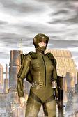 Futuristic military girl — Стоковое фото