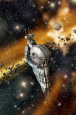 Stacja kosmiczna i asteroidy — Zdjęcie stockowe