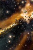 Asteroids and starfield background — Stock Photo