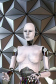Android robot cyber female — 图库照片