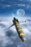 Spaceship fighter above a cloud sky — Stok fotoğraf