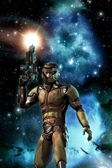 Futuristic soldier and starfield with nebula and sun — Stock Photo