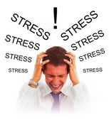 Stressed businessman with headache — Stock Photo