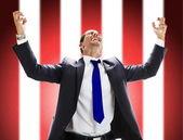 Portret podekscytowany młody człowiek świętować swój sukces — Zdjęcie stockowe