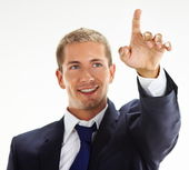 Businessman pointing up — Stock Photo