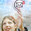 Businesswoman pressing email icons with virtual background — Stock Photo